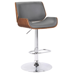 Levi Contemporary Adjustable Gray + Walnut Stool