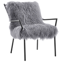 Levy Modern Sheepskin Gray + Black Accent Chair