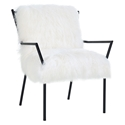 Levy Modern Sheepskin White + Black Accent Chair