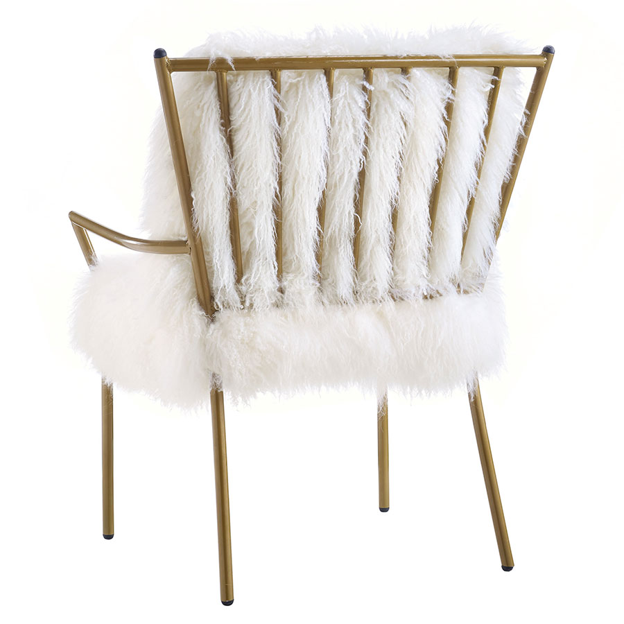 Exceptionnel ... Levy Modern Sheepskin White + Gold Chair   Back View ...