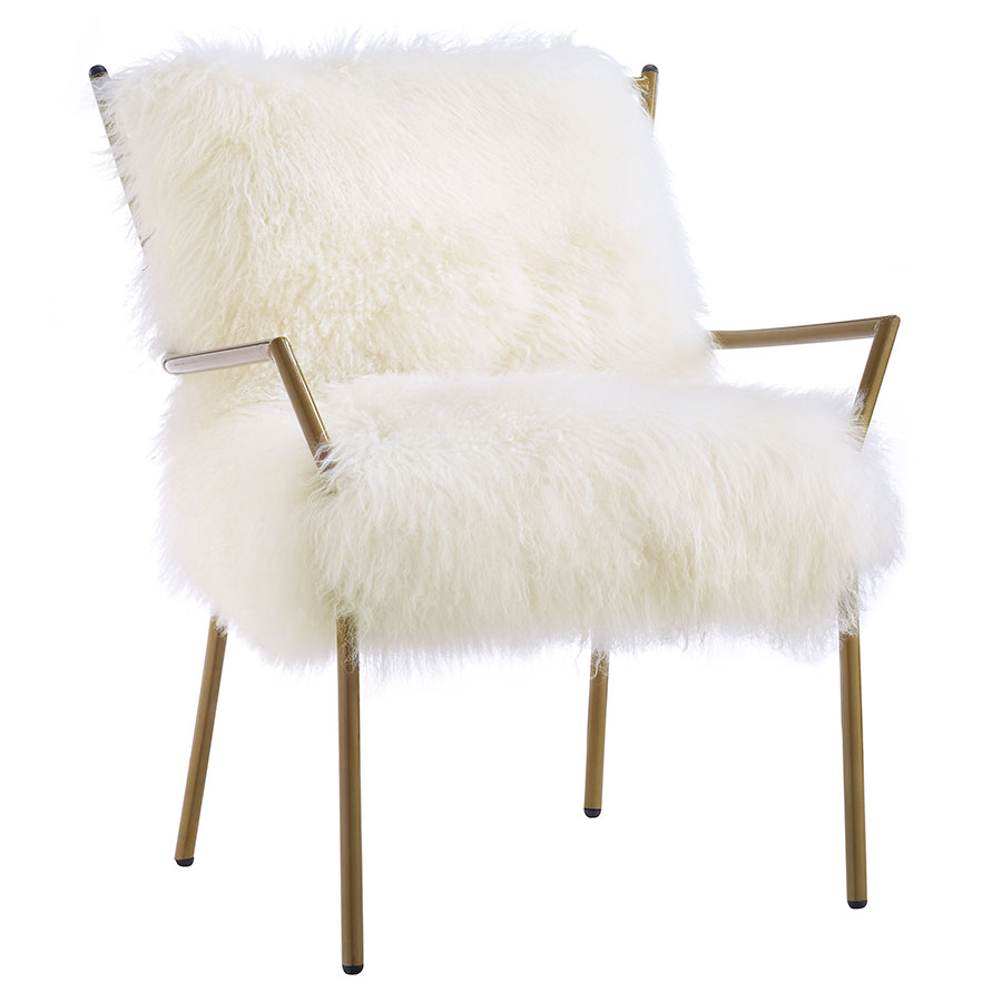 Levy Modern Sheepskin White + Gold Accent Chair
