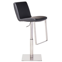 Lewis Black Naugahyde + Brushed Stainless Steel Modern Adjustable Height Bar + Counter Stool
