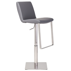 Lewis Gray Naugahyde + Brushed Stainless Steel Modern Adjustable Height Bar + Counter Stool