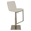 Lewis White Naugahyde + Brushed Stainless Steel Modern Adjustable Height Bar + Counter Stool