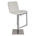 Lewis White Naugahyde + Chromed Stainless Steel Modern Adjustable Height Bar + Counter Stool