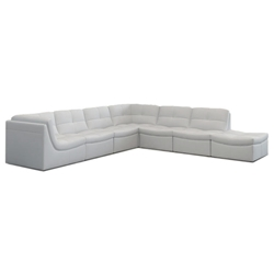Lexicon 7-Piece Modular Sectional in White Leather