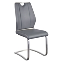 Lacona Gray Leatherette + Brushed Metal Modern Dining Side Chair