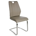 Lacona Taupe Faux Leather + Brushed Steel Modern Side Chair