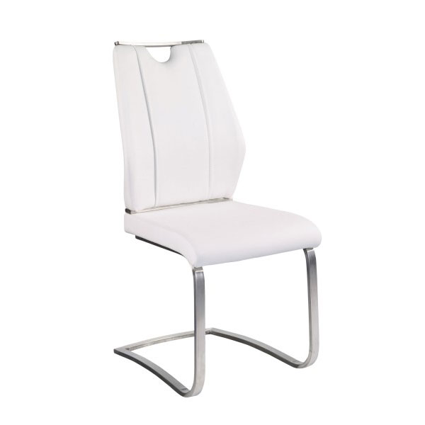 Merveilleux Call To Order · Lacona White Leatherette + Brushed Stainless Steel Modern  Cantilever Dining Side Chair