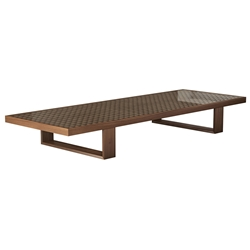 Modloft Black Leyton Modern Coffee Table in Walnut Wood with Clear Glass Top