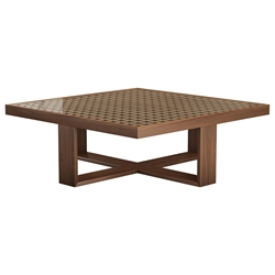Modloft Black Leyton Walnut + Glass Square Modern Coffee Table
