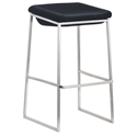 Lids Modern Dark Gray + Brushed Steel Bar Stool by Zuo