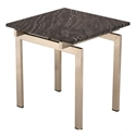 Lindale Black Marble + Brushed Steel Square Modern Side Table