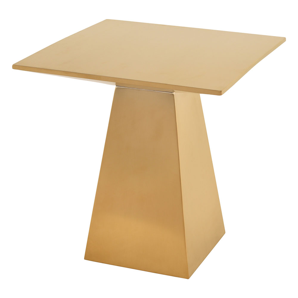 Lipan Brushed Gold Steel Square Modern End Table