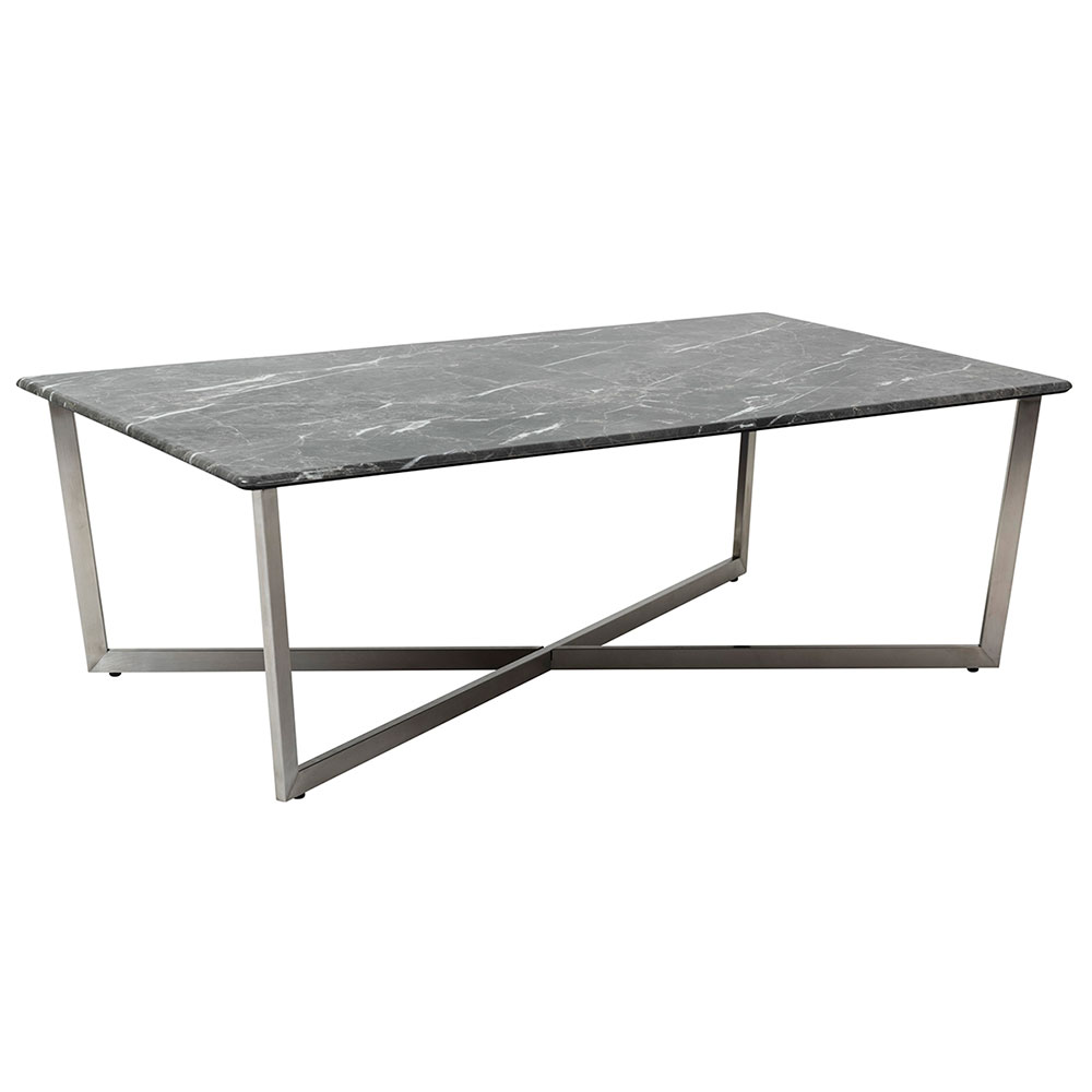 Llona Modern Black Marble-Look Rectangle Coffee Table by Euro Style