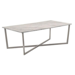 Llona Modern White Marble-Look Rectangle Coffee Table by Euro Style