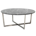 Llona Modern Black Marble-Look Round Coffee Table by Euro Style