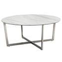 Llona Modern White Marble-Look Round Coffee Table by Euro Style
