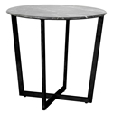 Llona Modern Black Marble-Look + Black Steel Side Table by Euro Style