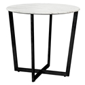 Llona Modern White Marble-Look + Black Steel Side Table by Euro Style