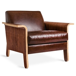 Lodge Contemporary Lounge Chair in Saddle Brown Leather by Gus* Modern