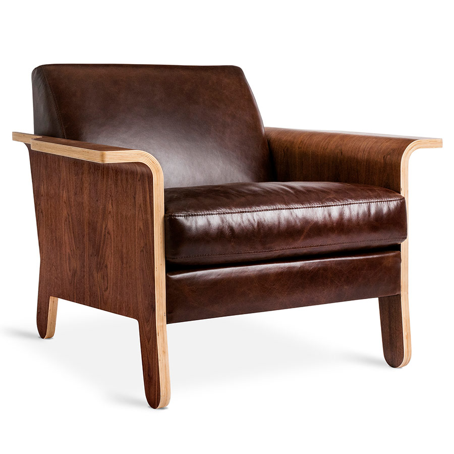 Gus Modern Lodge Chestnut Brown Leather Chair Eurway