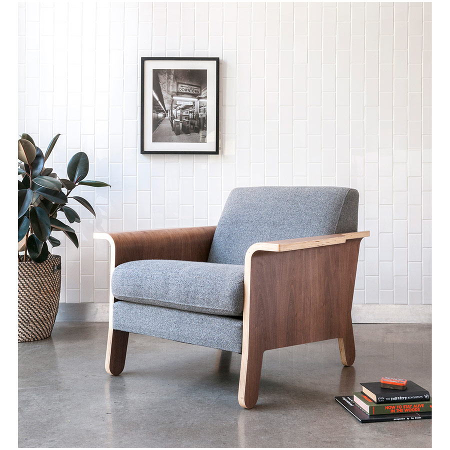 Gus Modern Lodge Contemporary Lounge Chair in Varsity Charcoal