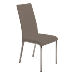 Logo Taupe Italian Leather + Polished Steel Modern Dining Side Chair