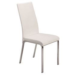 Logo White Italian Leather + Polished Steel Modern Dining Side Chair