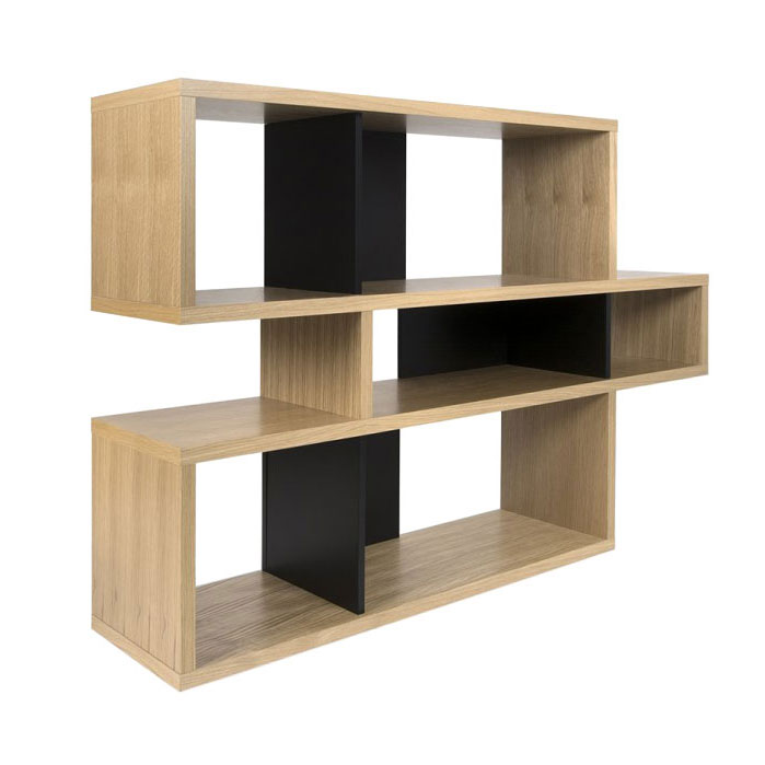 London Oak + Black Contemporary Bookcase