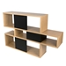 London Oak + Black Contemporary Bookcase Back