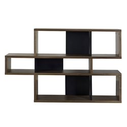 London Walnut + Black Contemporary Bookcase by TemaHome