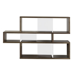 London Walnut + White Contemporary Bookcase