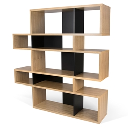London Oak + Black Modern Double Height Bookcase