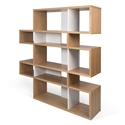 London Oak + White Modern Double Height Bookcase