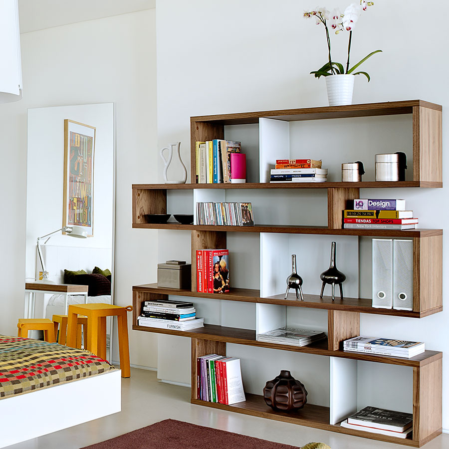 london walnut  white double modern bookcase  eurway -  london walnut  white contemporary medium height bookcase