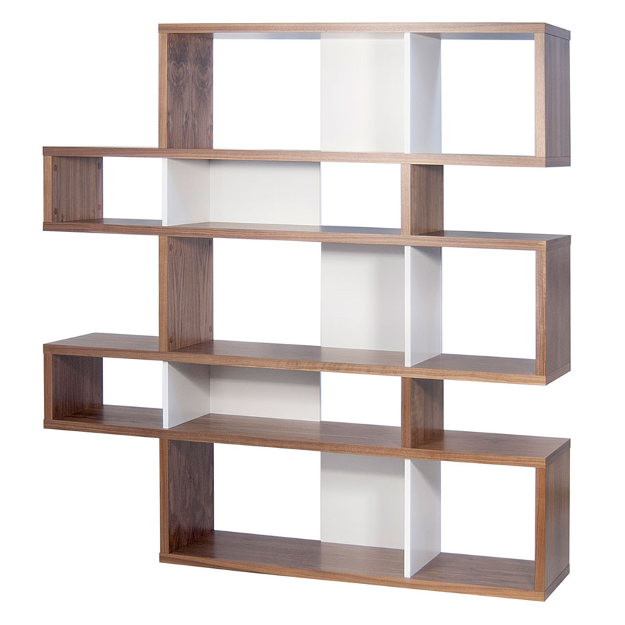 London Walnut + White Modern Double Height Bookcase - London Walnut + White Double Modern Bookcase Eurway