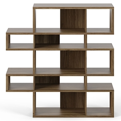 London Walnut Modern Double Height Bookcase