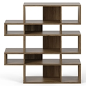 London Walnut Modern Double Height Bookcase by TemaHome