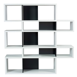 London White + Black Modern Double Height Bookcase