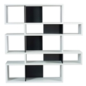 London White + Black Modern Double Height Bookcase by TemaHome