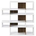London White + Walnut Modern Double Height Bookcase