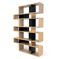 London Oak + Black Modern Triple Height Bookcase
