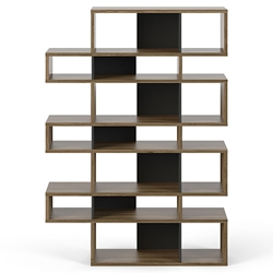 London Walnut + Black Modern Triple Height Bookcase