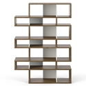 London Walnut + White Triple Modern Bookcase