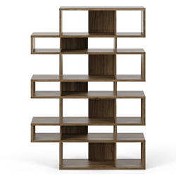 London Walnut Modern Triple Height Bookcase
