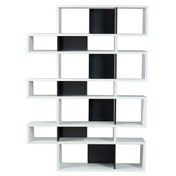 London White + Black Modern Triple Height Bookcase