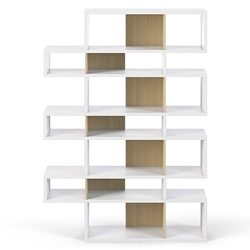 London White + Oak Triple Height Modern Bookcase