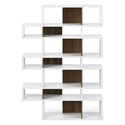 London White + Walnut Modern Triple Height Bookcase