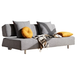 Long Horn Modern Sleeper Sofa in Twist Granite by Innovation